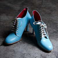1920's vintage inspired baby blue high heels FREE WORLDWIDE SHIPPING