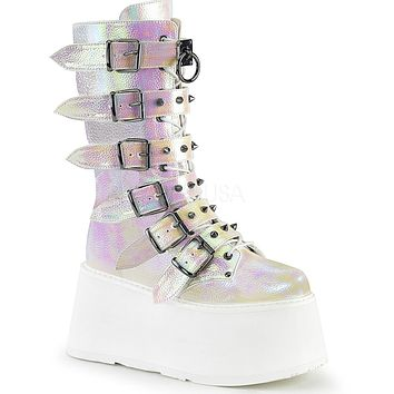 Pearl Holographic Studded Mid-Calf Platform Boots