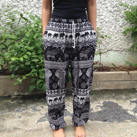 Black Elephant Yoga Exercise Pants Baggy Boho hobo Comfy Style Print Hippies Gypsy Plus Size Rayon Aladdin Clothing Beach Summer Casual