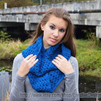 Crochet Chunky Cowl Infinity Loop Scarf - Peacock Blue - Women, Teens, Girls, Neckwarmer, Long Circle Scarf - Ready to Ship