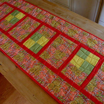 Contemporary Summer Table Runner - Orange and Yellow Flowers
