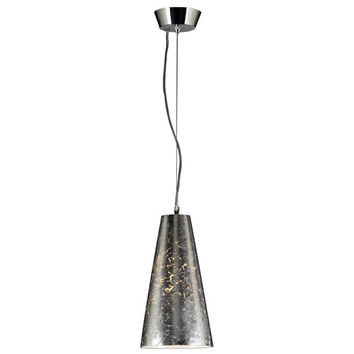 PLC Lighting 76011 SILVER Baolis One-Light Polished Chrome Mini Pendant with Crackled Silver Glass