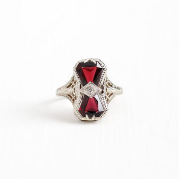 Antique 14k White Gold Double Garnet & Diamond Ring - Vintage Art Deco Size 6 1/2 Red January Birthstone Gemstone Filigree Fine Jewelry