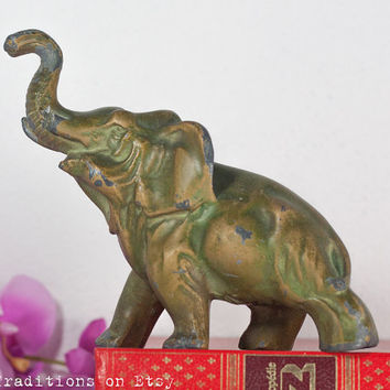 1940's Elephant Sculpture Figurine: Vintage Metal Elephant, Animal Figurine, Animal Sculpture, Home Decor