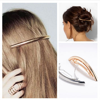 Simple Fashionable Women Hairpins Bend Metal Gold Silver Plated Hair Clips Girls Hair Pins Hair Accessories