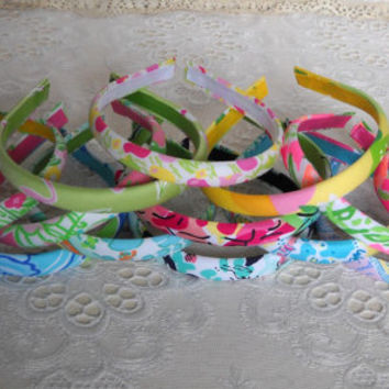 Rainbow Collection of Narrow Lilly Pulitzer Fabric Headbands 12pcs