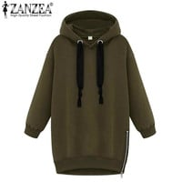 New 2016 Autumn Winter Fashion Womens Long Sleeve Hooded Loose Warm Hoodies Sweatshirt Plus Size Femininas Plus Size S-5XL