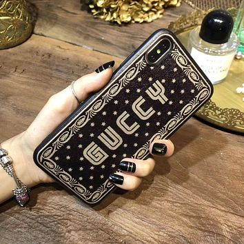 GUCCI Tide brand letters printed leather iPhone XS Max mobile phone shell soft shell protective cover 3