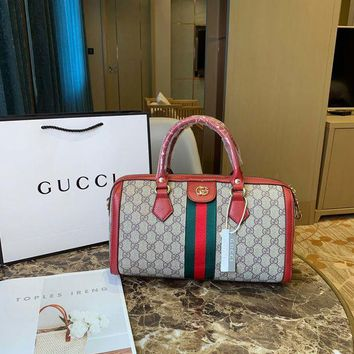 008-2 Gucci Canvas Shoulder Strap Crossbody Pouch Handle Fashion Weekend Duffel Bag 31-12-18cm