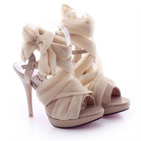 High Heel Chiffon Lace Up Sandals for Women 061626 B