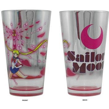 "16oz OFFICIAL Sailor Moon Silver ""Moon Spiral Heart Attack"" Pint Glass GIFT"