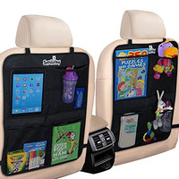 Smiinky Kick Mats with 2 Extra Large Organizer Pockets Covers for Cars