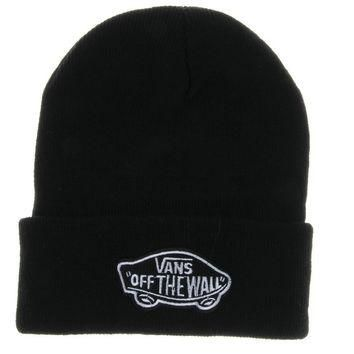 Black Vans Off The Wall Winter Beanies Truck Cap Knit Hat Unisex Plain Warm Soft Beani