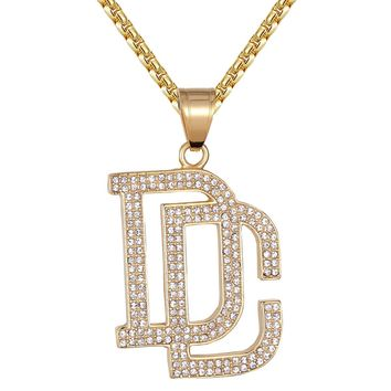 Steel Dream Chasers DC Iced Out Logo Hip Hop Pendant