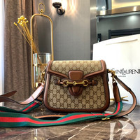 GUCCI GG Canvas and Leather Medium Crossbody Shoulder Bag
