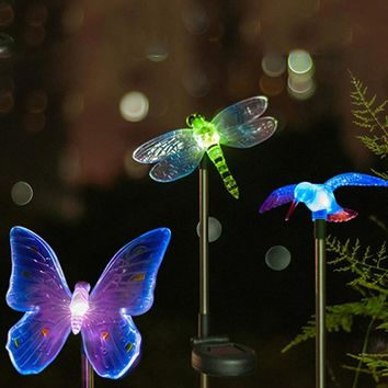 Color-Changing Garden Light Outdoor Dragonfly/Butterfly/Bird Solar LED