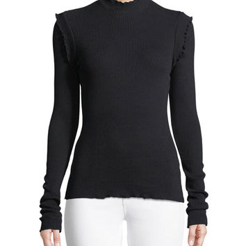 Current/Elliott The Ruffle Rib-Knit Top