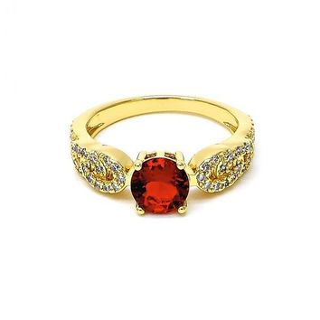 Gold Layered Multi Stone Ring, with Cubic Zirconia and Micro Pave, Golden Tone