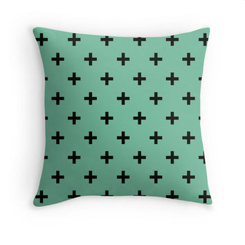 Green Pillow Swiss Criss Cross Pillow Cover Lucite Green Pantone 2015 Color Plus Sign Hipster Home Decor