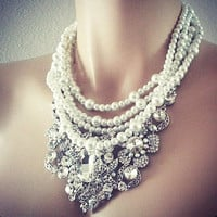 Pearl Rhinestone Bridal Jewelry Set Necklace Earrings - Wedding Jewellery in Vintage Chunky Style