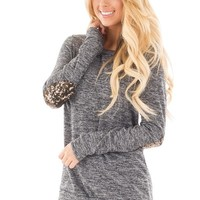 CHARCOAL TWO TONED SWEATER WITH GOLD SEQUIN ELBOW PATCHES