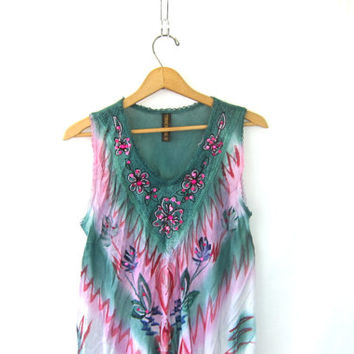 Vintage Sun Dress. Green and pink Indian tent Dress. Embroidered Long Festival tie dye Dress. 90s Hippie Ethnic Boho Slip Dress. Free size.