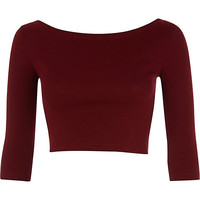 River Island Womens Dark red 3/4 sleeve crop top