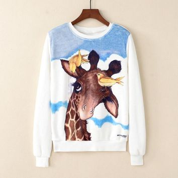 Long Sleeve Shirts - Cute Giraffe All Over Print Women's Sweatshirts