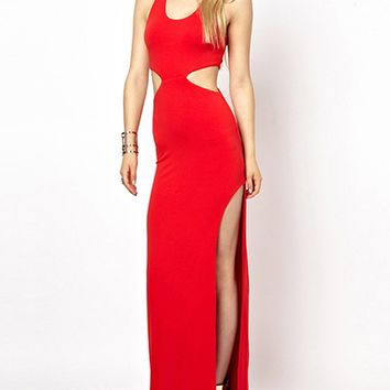 Red Cut Out Thigh Side Split Bodycon Maxi Dress