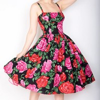 Black Sleeveless Dress w/ Pink Floral Print & Full Skirt  #floral #print #roses #chic #flirty #classy #vintage #chic #retro #50s