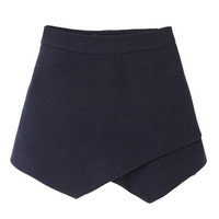 Black High Waist Asymetric Hem Woolen Skorts - Choies.com