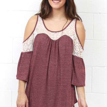 Ruffles + Lace Cold Shoulder Blouse {Red Bean} EXTENDED SIZES