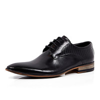 River Island MensBlack textured leather lace up formal shoes