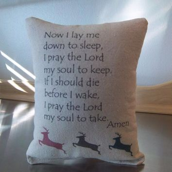 Kids Pillow Woodland Nursery Bedtime Prayer Cushion
