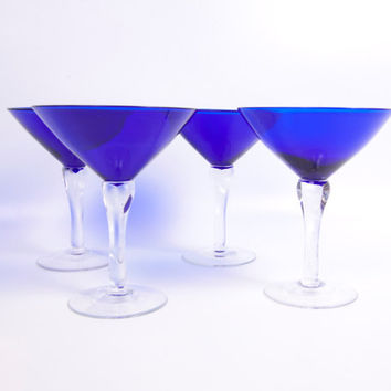 Vintage Cobalt Blue Martini Stemware Hand Blown Crystal Set of 4 Optic Long Stem Glassware