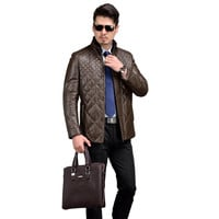Luxury Style Genuine Leather Jacket Men White Duck Down Coat Men Real Leather Coat With Mink Collar Brown Black