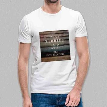 Custom Gildan Men's T-Shirt Harry Potter Books With Quote Some Story