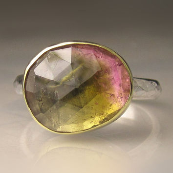 Rose Cut Bicolor Tourmaline Ring - 18k Gold and Sterling Silver