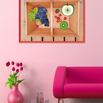 Fruit print, Food wall art, Fruit poster, Kitchen art poster, Food poster, Fruits basket photography and illustration, Gift for her