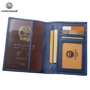 New Blue Passport Cover Genuine Leather Passport/Credit Card Holder Protector Cover Case
