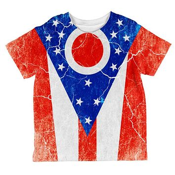 Ohio Vintage Distressed State Flag All Over Toddler T Shirt
