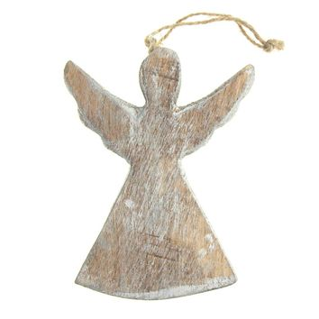 Hanging Wooden Distressed Angel with Wings Christmas Ornament, Silver, 4-3/4-Inch