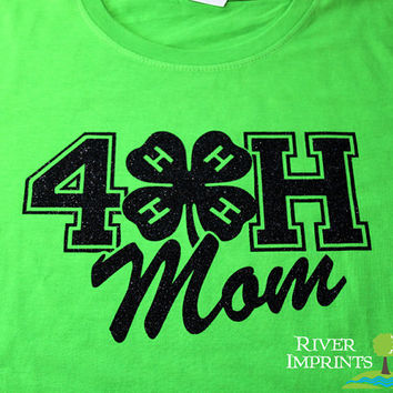 4-H MOM T-shirt, sparkly 4H glitter shirt -fitted, regular, or long sleeves