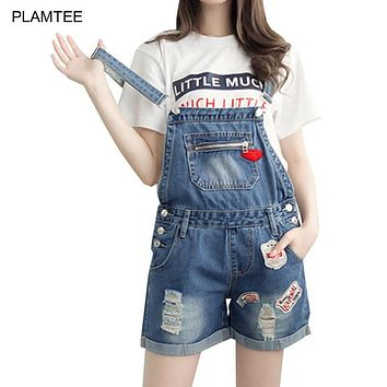 Lip Embroidery Fashion Hole Ladies Jean Overalls New Strap Shorts Bodysuit 2017 Spring Summer Denim Playsuits for Women Clothing