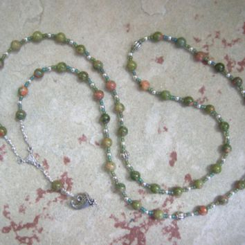 Demeter Prayer Bead Necklace in Unakite: Greek Goddess of Grain, the Harvest, the Seasons, and the Afterlife