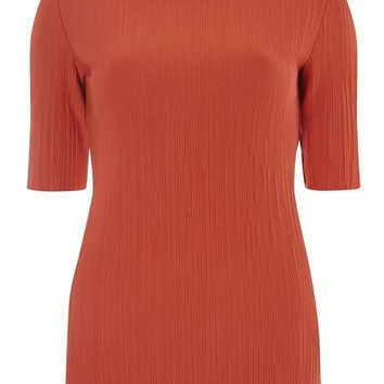 Rust Pleated High Neck Top - Tops & T-Shirts - Clothing