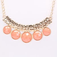 Coral High Polish Metal Hammered Texture Necklace