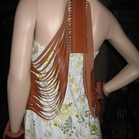 Leather Embroidered Fringe Vest / Scarf by Vacationhouse on Etsy