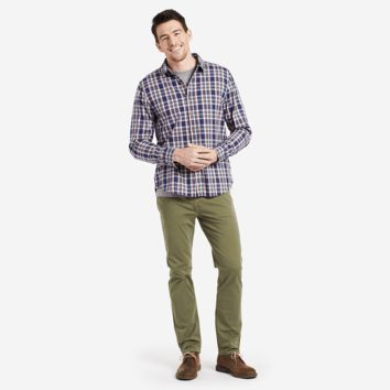 Men's Darkest Blue Plaid Down Plaid Shirt