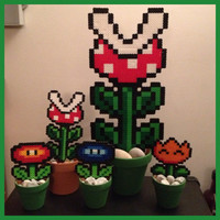 Mario Flower Family Set of 5 Plants by K8BitHero on Etsy